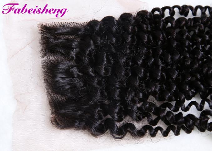 Brazilian Curly 4x4 Lace Closure , Lace Frontal Closure With Bleached Knots 0