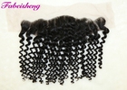 8 - 18 Inch Deep Wave Virgin Brazilian Curly Hair Lace Frontal Closure 13x4