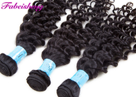 Soft Clean And Healthy Raw Deep Wave Human Hair Extensions Natural Black Color