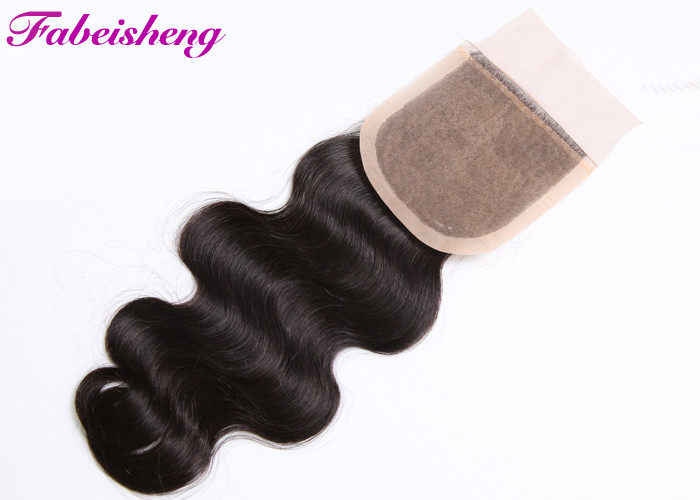 "Brazilian Human Hair Weave Silk Base Closure With Natural Part 8 -18"" Inch"