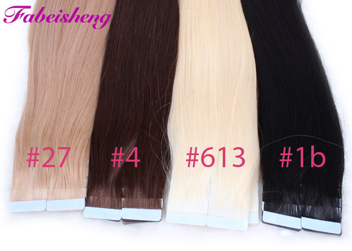 Colored Russian Virgin Seamless Tape In Hair Extensions No Shedding