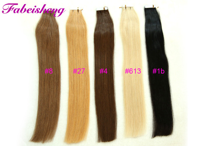 "100% Remy Tape In Hair Extensions 16' To 26"" Long 1B Black Light Blonde Colors"