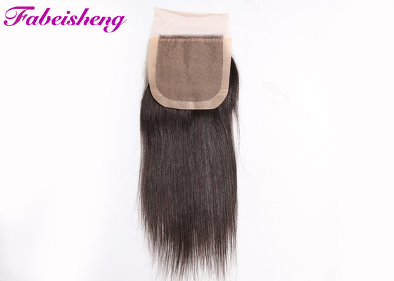 3 Part Silk Base Closure Virgin Brazilian Hair Extensions Bleached Knots