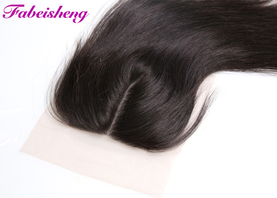 Smooth 3 Way Part Lace Closure 4x4 Virgin Brazilian Hair Extensions Swiss Lace