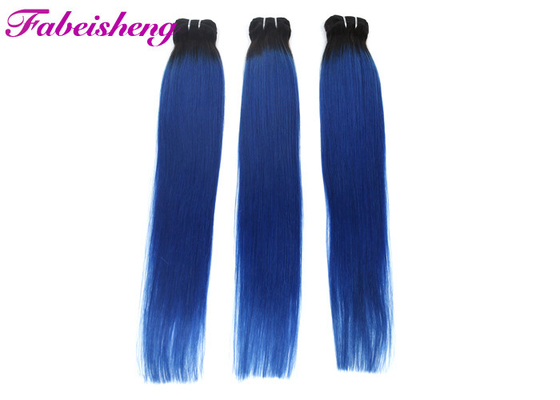 3 Bundles Cuticle Aligned Straight Human Hair Extensions Natural Blue No Tangling