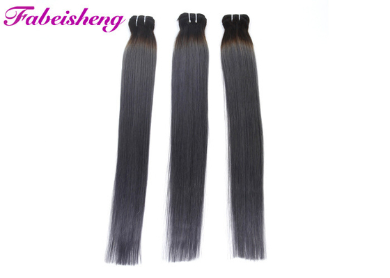 20 Inch Colored Hair Extensions , 100% Virgin Human Hair Bundles With Lace l Closure Ombre 1b / Grey 2 Tone