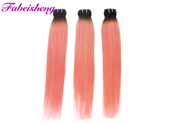 Pink Colored Hair Extensions With closure / Ombre Brazilian Human Hair Weave
