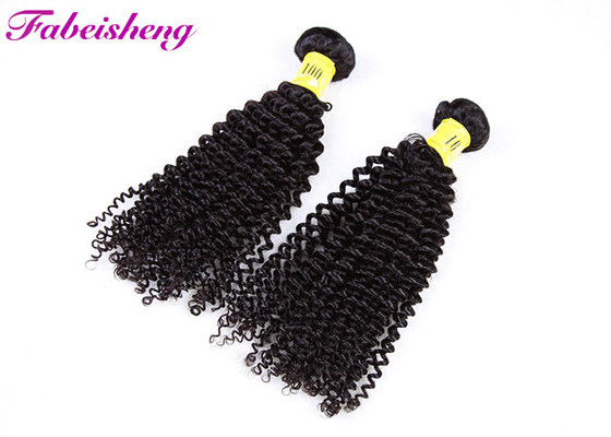 Black Human VIrgin Hair Bundles Sew In Weft High Density / Full End Curly Hair Extensions