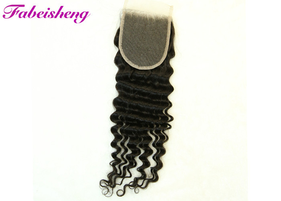Soft Smooth Brazilian Virgin Human Hair Natural Color Deep Wave 4*4 Lace Closure